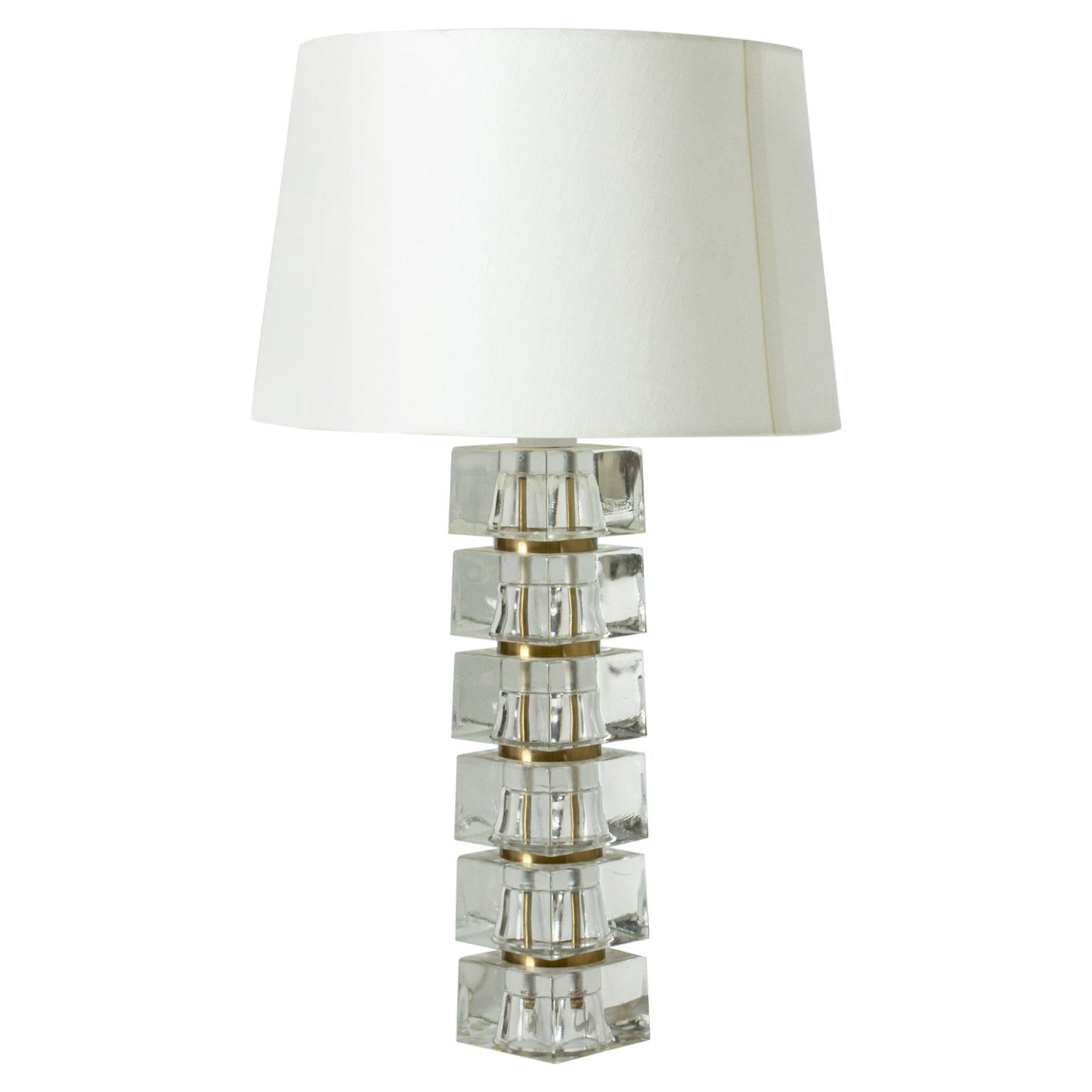 Swedish 1960s Crystal Glass Table Lamp