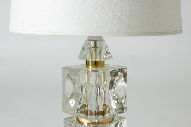 Swedish 1960s Crystal Table Lamp In Good Condition For Sale In Stockholm, SE