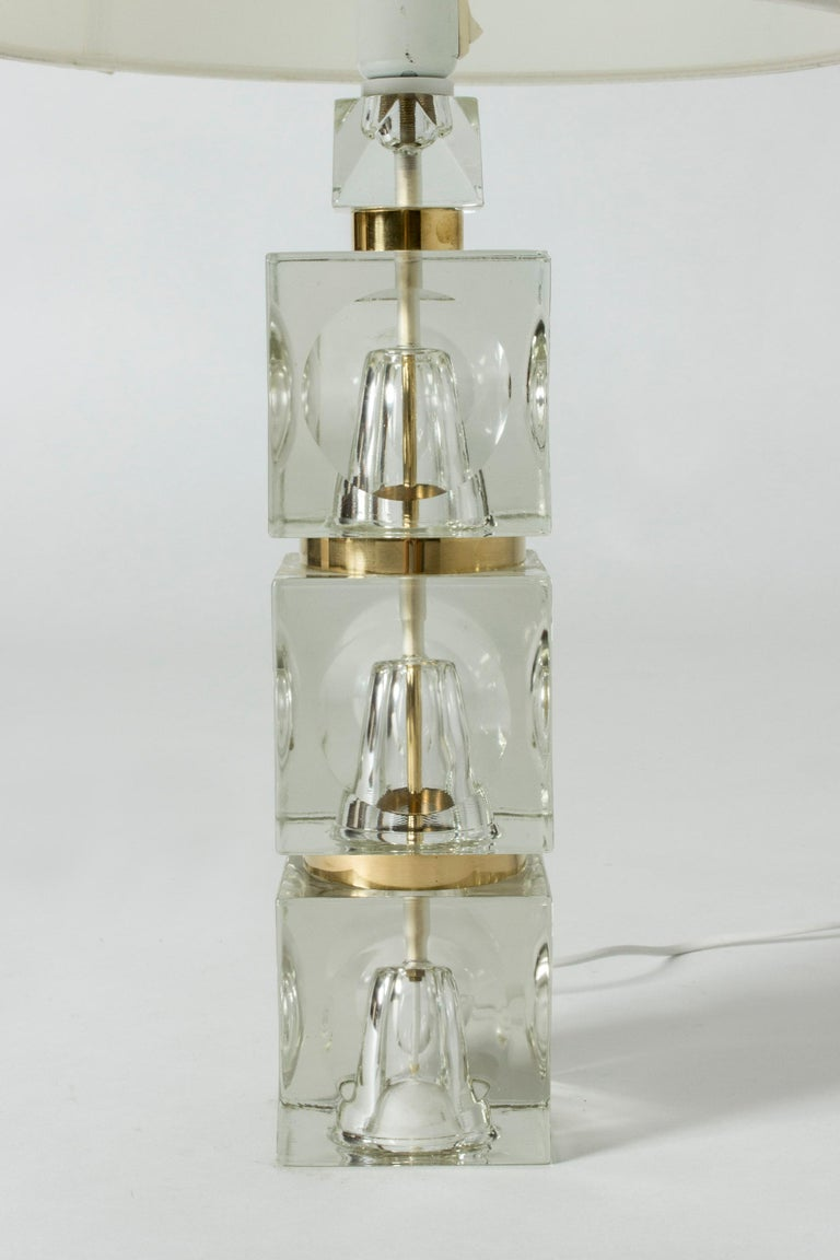 Glass Swedish 1960s Crystal Table Lamp For Sale