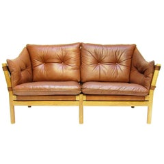 "Swedish 1960s ""Ilona"" Sofa Loveseat In Tan Leather by Arne Norell"
