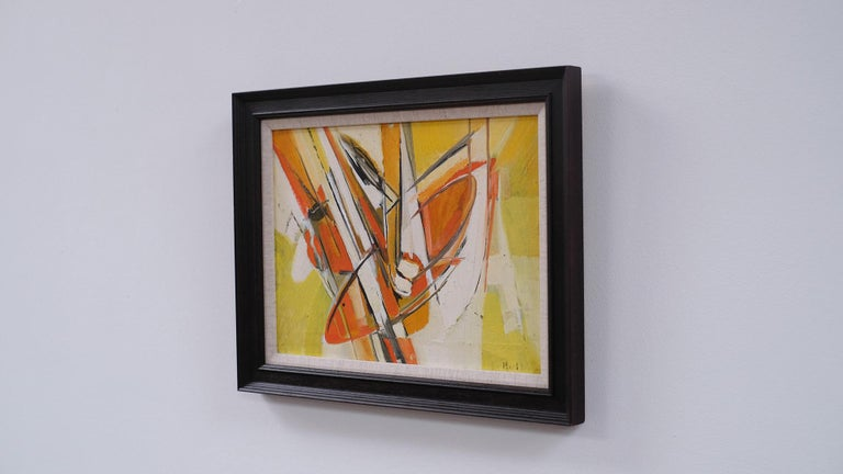 Beautiful 1960s abstract landscape oil on canvas by Swedish artist Torsten Hult. Signed.