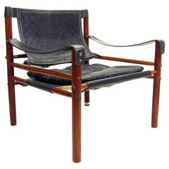 "Swedish 1960s ""Sirocco"" Safari Chair in Rosewood and Leather by Arne Norell"