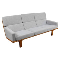 Swedish 1960s Solid Oak Sofa Newly Upholstered in Woven Linen
