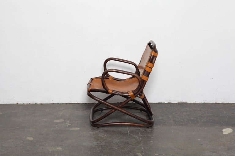 Mid-Century Modern Swedish 1970s Bamboo and Leather Chair For Sale