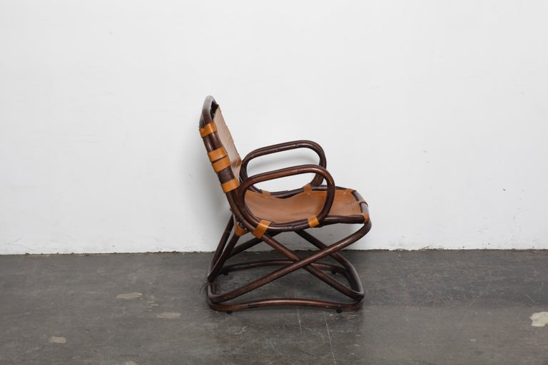 Swedish 1970s Bamboo and Leather Chair In Good Condition For Sale In North Hollywood, CA