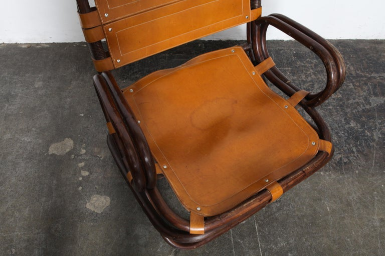 Swedish 1970s Bamboo and Leather Chair For Sale 2