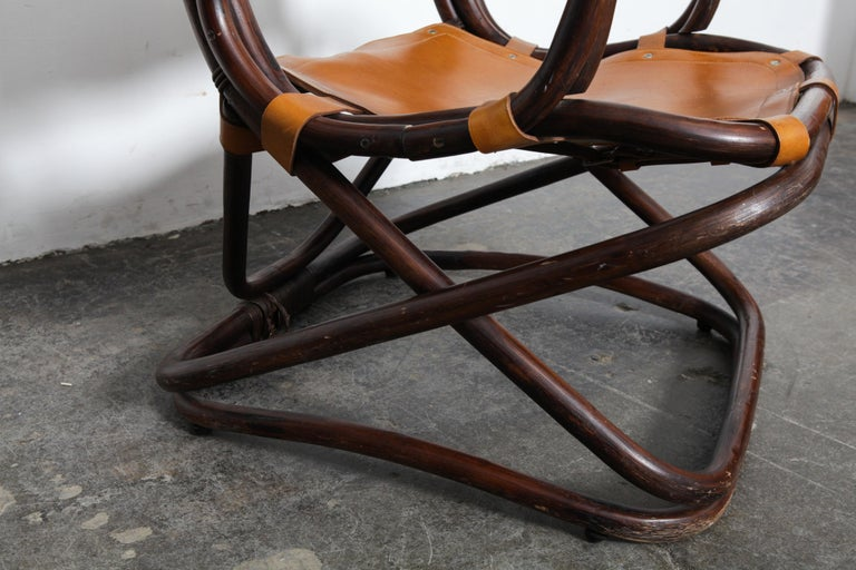 Swedish 1970s Bamboo and Leather Chair For Sale 3