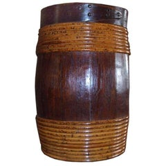 Swedish 19th Century Over-Scale Oak and Willow-Banded Barrel