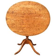 Swedish 19th Century Biedermeier Tilt-Top Table in Flame Birch Wood