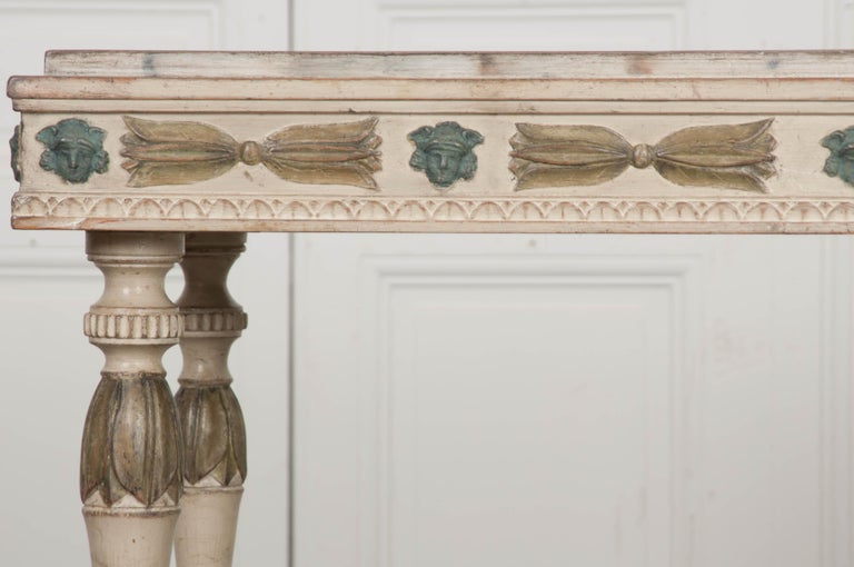 Hand-Carved Swedish 19th Century Carved and Painted Console