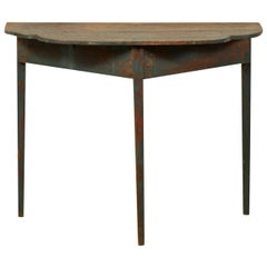 Swedish 19th Century Demilune Table with Much of it's Original Teal Blue Paint