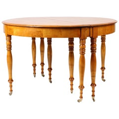Swedish 19th Century Extendable Dining Table, Birch, circa 1860, 10-12 People