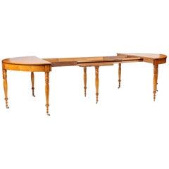 Swedish 19th Century Extendable Dining Table, Birch, circa 1860, 10 People