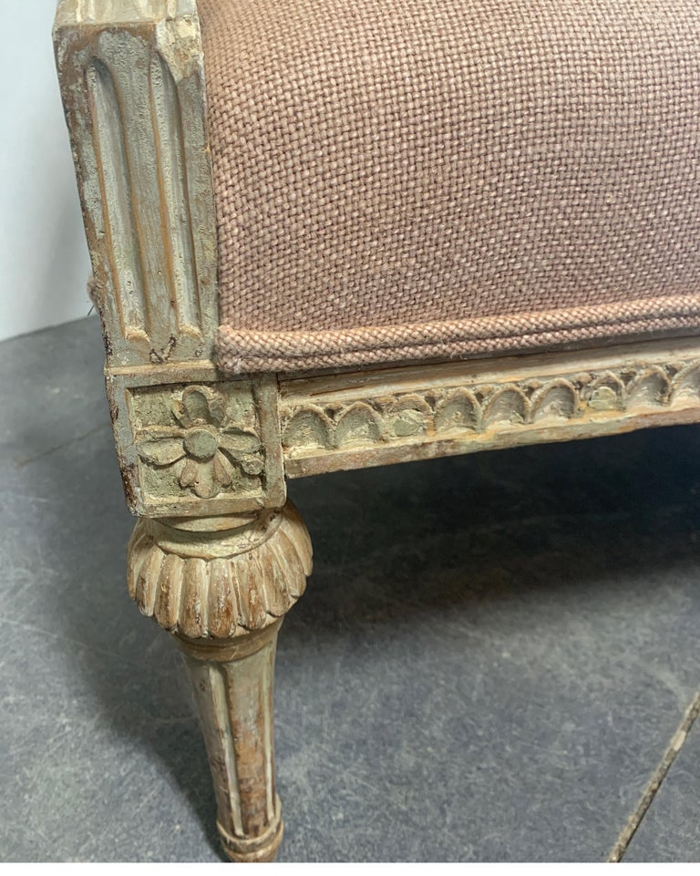 Hand-Carved Swedish 19th Century Gustavian Sofa