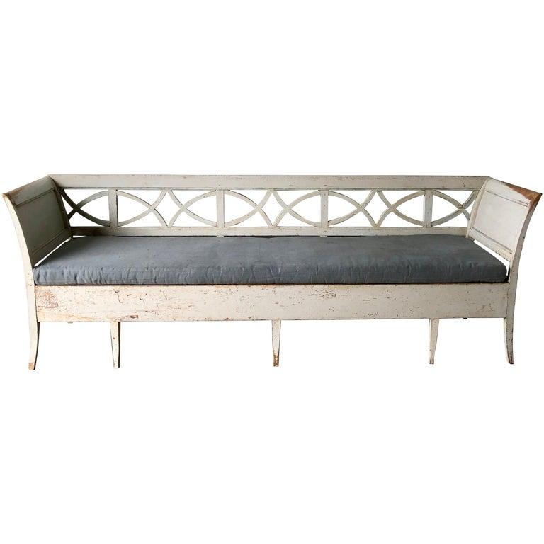 Swedish 19th Century Gustavian Style Long Sofa Settee For Sale
