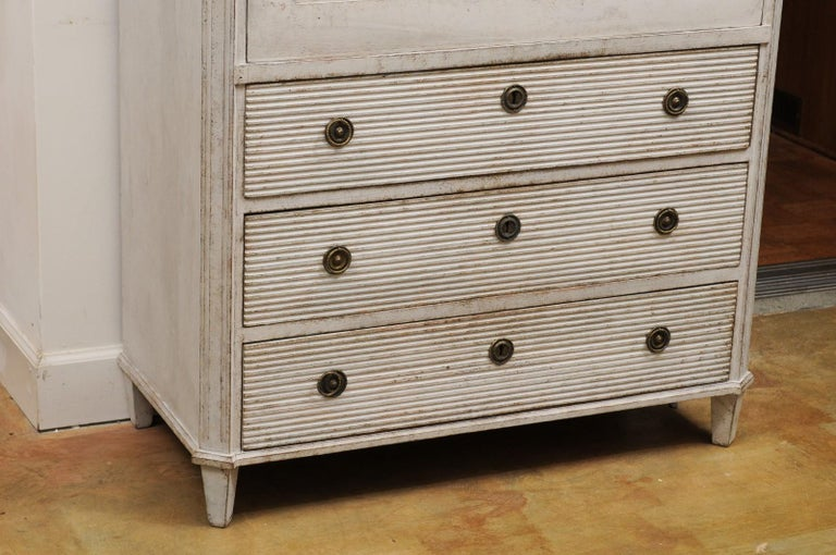 Swedish 19th Century Gustavian Style Painted Wood Drop-Front Secretary For Sale 1