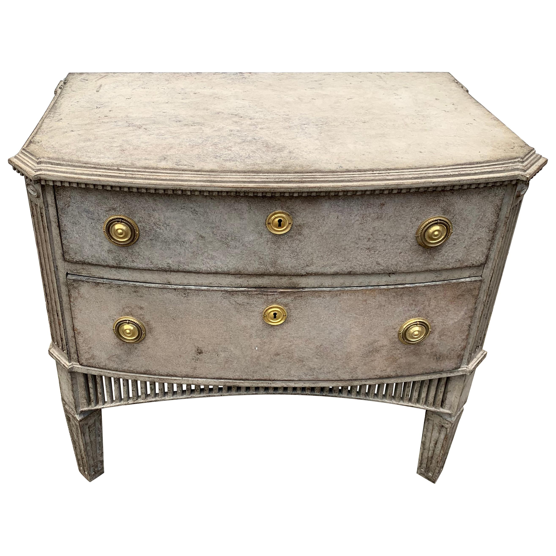 Swedish 19th Century Gustavian Style Two-Drawer Dresser with Brass Hardware