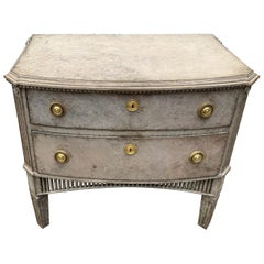 Swedish 19th Century Gustavian Style Two-Drawer Dresser with Brass Hardware