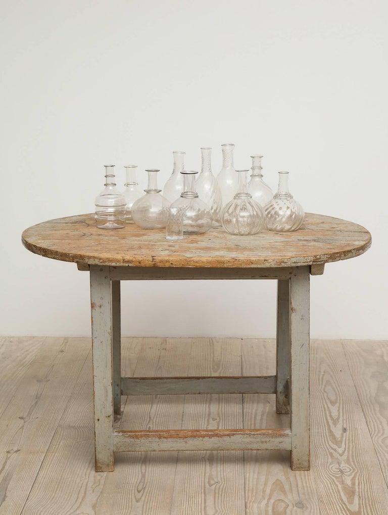 Gustavian Swedish 19th Century Handblown Turned Glass Carafe, Origin, Sweden For Sale