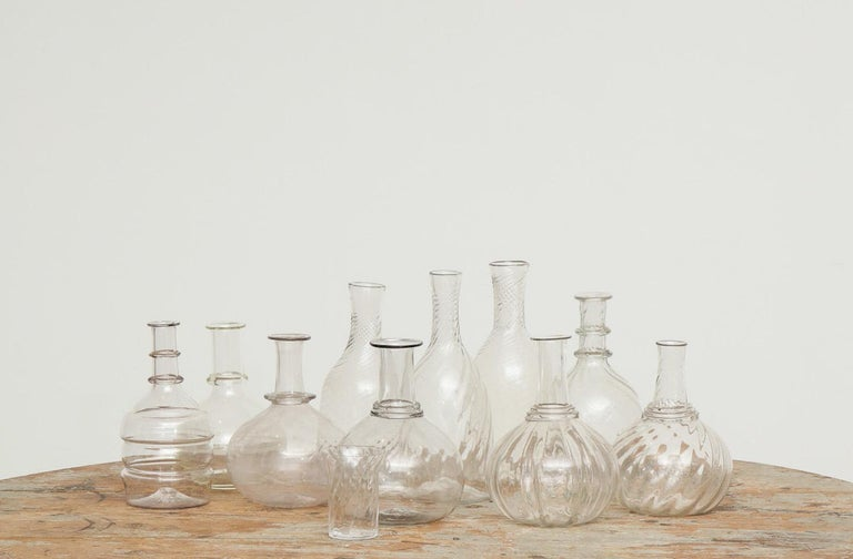 Swedish 19th Century Handblown Turned Glass Carafe, Origin, Sweden In Excellent Condition For Sale In New York, NY