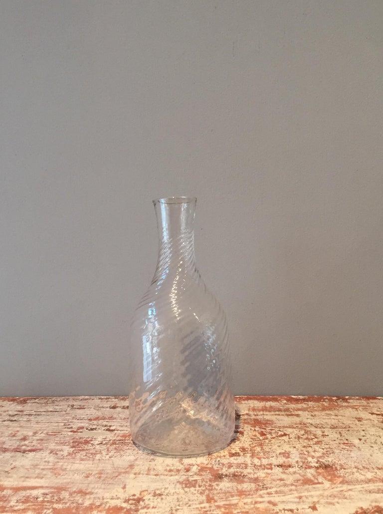 Blown Glass Swedish 19th Century Handblown Turned Glass Carafe, Origin, Sweden For Sale