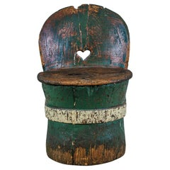Swedish 19th Century Love Heart Dugout Chair or Kubbastol