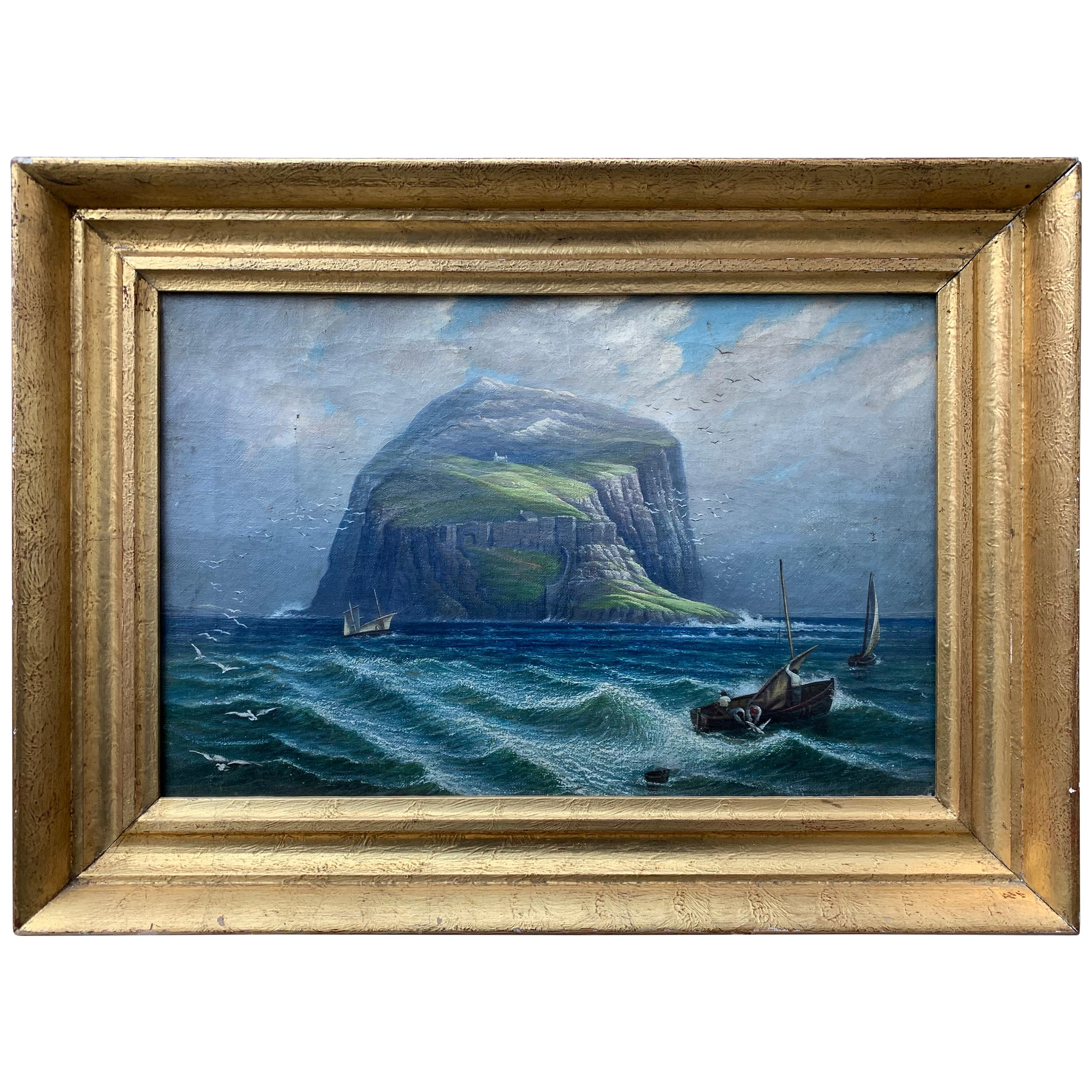 Swedish 19th Century Nautical Oil Painting of a Coastline and Sailing Boats