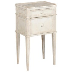 Swedish 19th Century Neoclassical Style Painted Nightstand Table with Marble Top