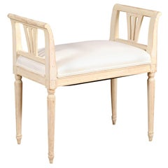 Swedish 19th Century Neoclassical Style Painted Wood Bench with New Upholstery