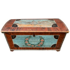 Swedish 19th Century Original Painted Dome-Top Wedding Trunk, Dated 1846