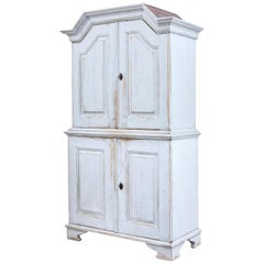 Swedish 19th Century Painted Pine Tall Cupboard