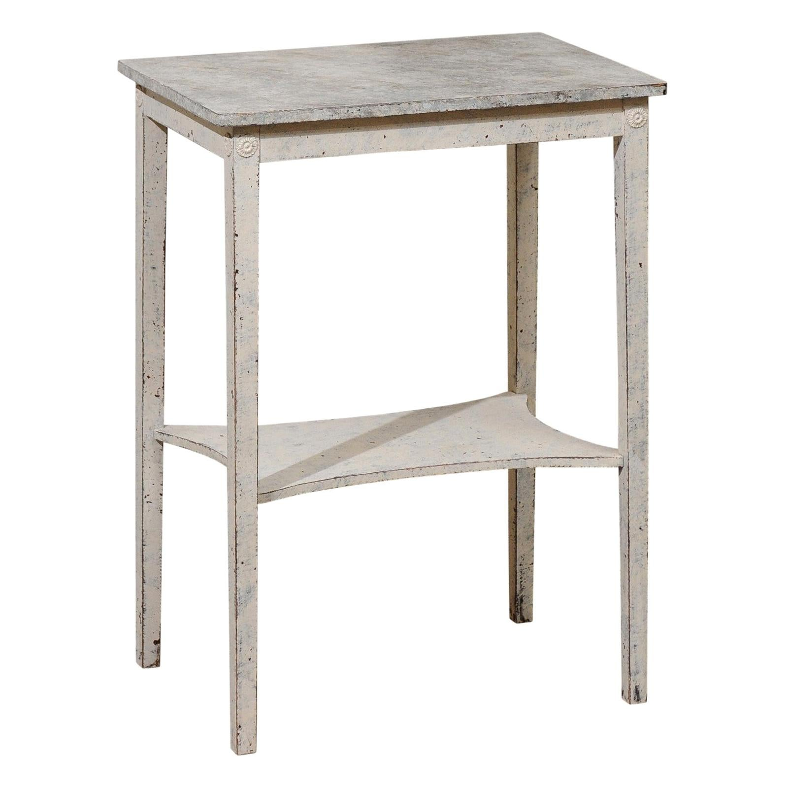 Swedish 19th Century Painted Side Table with Marbleized Top and In-Curving Shelf