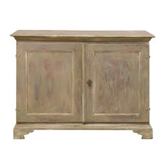 Swedish 19th Century Painted Wood Two-Door Buffet Cabinet in Soft Grey Tones