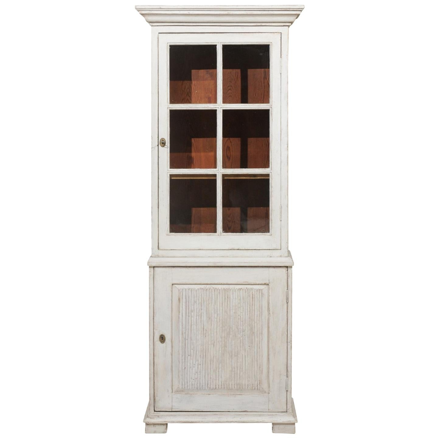 Swedish 19th Century Painted Wood Two-Part Vitrine Cabinet with Glass Door