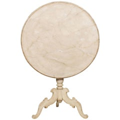 Swedish 19th Century Rococo Style Painted Tripod Table with Faux Marble Tilt-Top