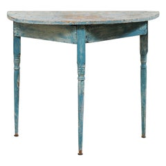 Swedish 19th Century Single Demilune Console Table in Turquoise Blue Color