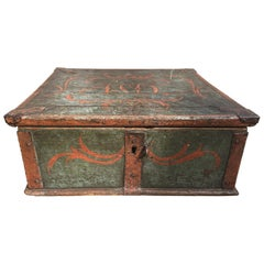 Swedish 19th Century Wooden Monogrammed and Dated Folk Art Box