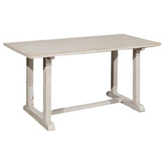 Swedish 20th Century Painted Wood Trestle Table with Distressed Finish