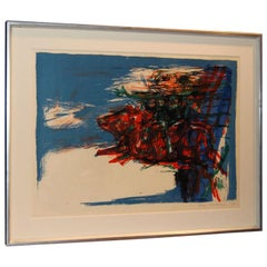 Swedish Abstract Lithograph by Leif Knudsen c. 1962