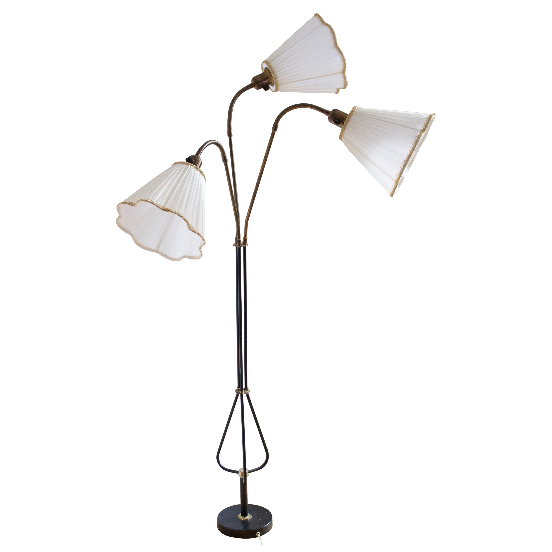 Swedish, Adjustable Floor Lamp, Brass, Fabric, lacquered metal, Sweden, 1950s
