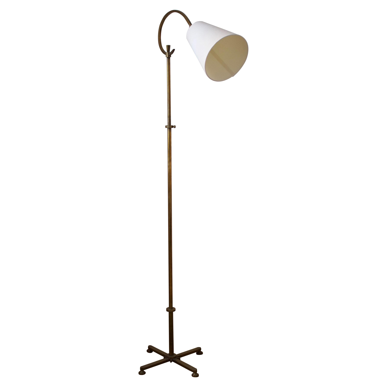 Swedish, Adjustable Floor Lamp, Brass, Fabric, Sweden, 1940s
