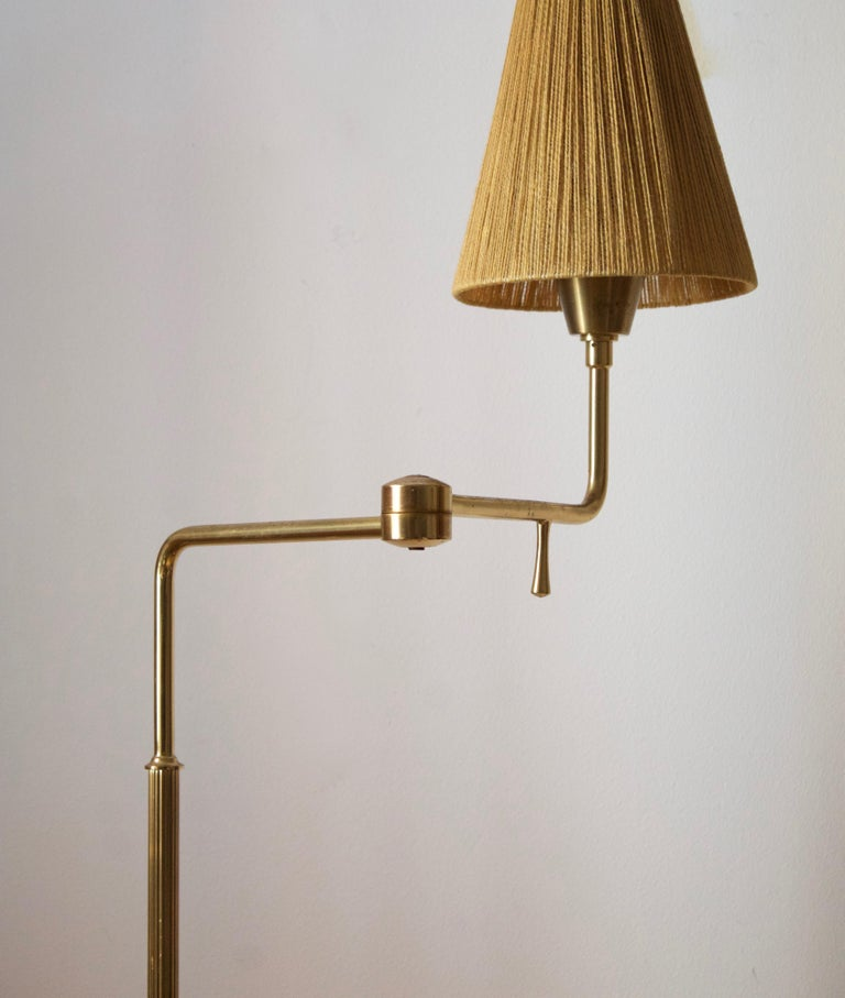 Swedish, Adjustable Floor Lamp, Brass, Fabric, Sweden, 1950s In Good Condition For Sale In West Palm Beach, FL