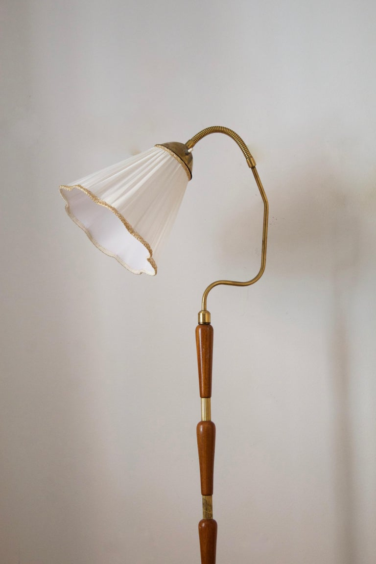 Mid-Century Modern Swedish, Adjustable Floor Lamp, Brass, Stained Oak, Fabric, Sweden, 1950s For Sale