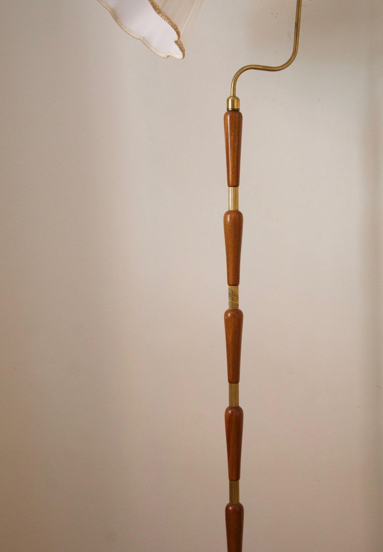 Mid-20th Century Swedish, Adjustable Floor Lamp, Brass, Stained Oak, Fabric, Sweden, 1950s For Sale