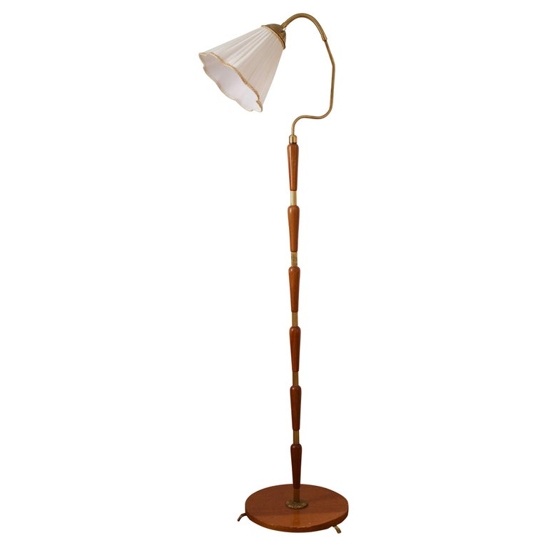 Swedish, Adjustable Floor Lamp, Brass, Stained Oak, Fabric, Sweden, 1950s For Sale