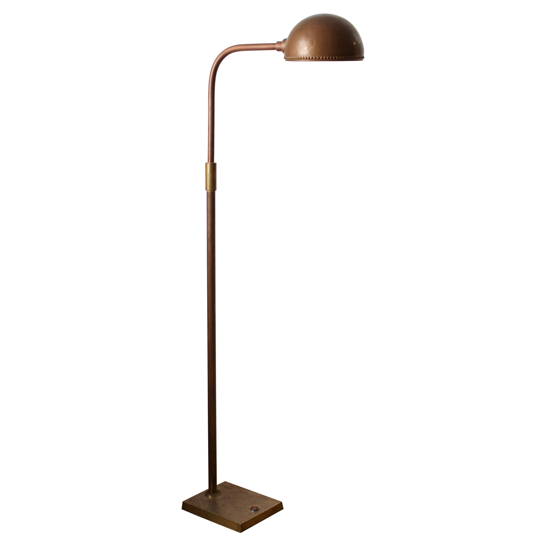 Swedish, Adjustable Floor Lamp, Patinated brass, Sweden, 1950s