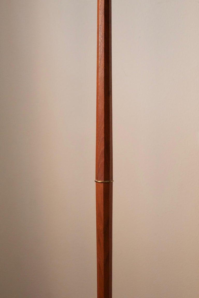 Mid-Century Modern Swedish, Adjustable Floor Lamp, Teak, Brass, Fabric, Sweden, 1950s For Sale