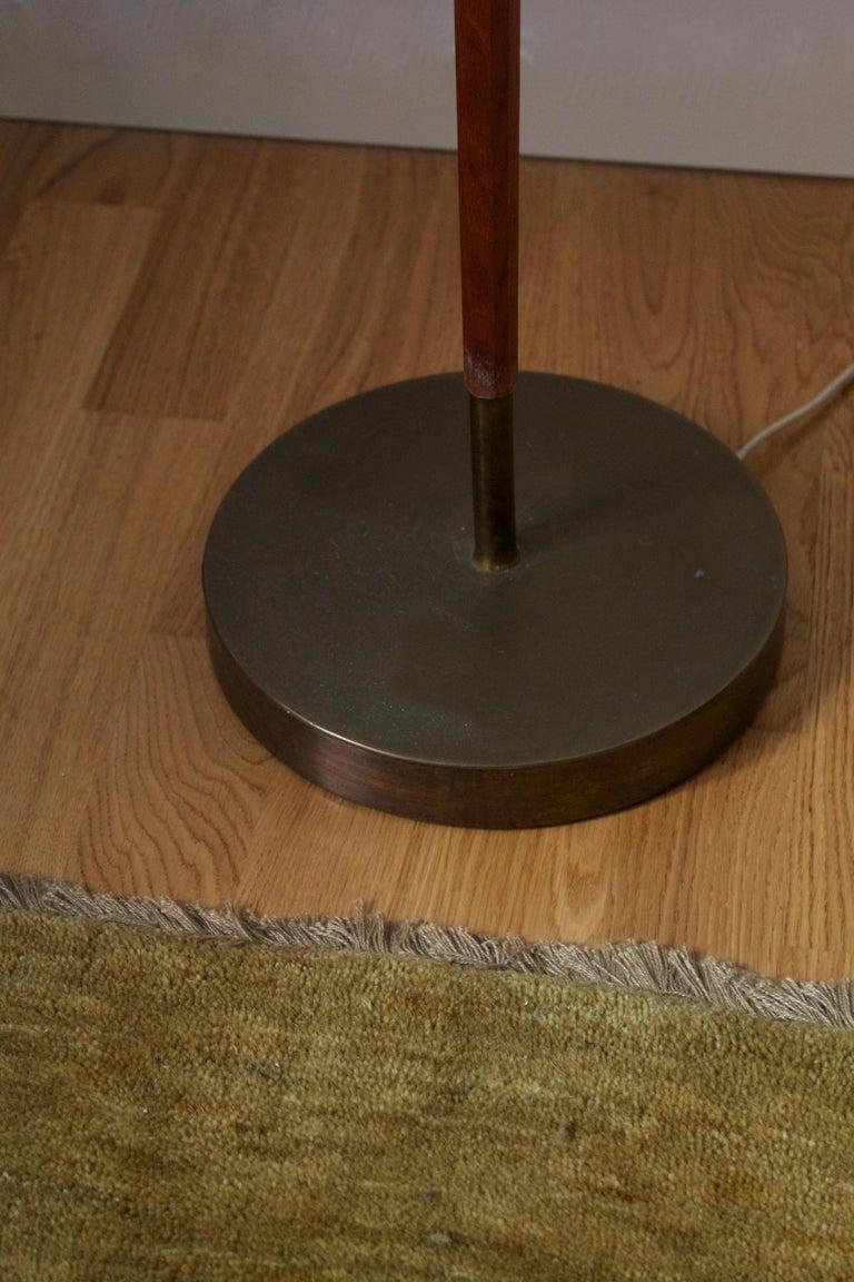 Mid-20th Century Swedish, Adjustable Floor Lamp, Teak, Brass, Fabric, Sweden, 1950s For Sale