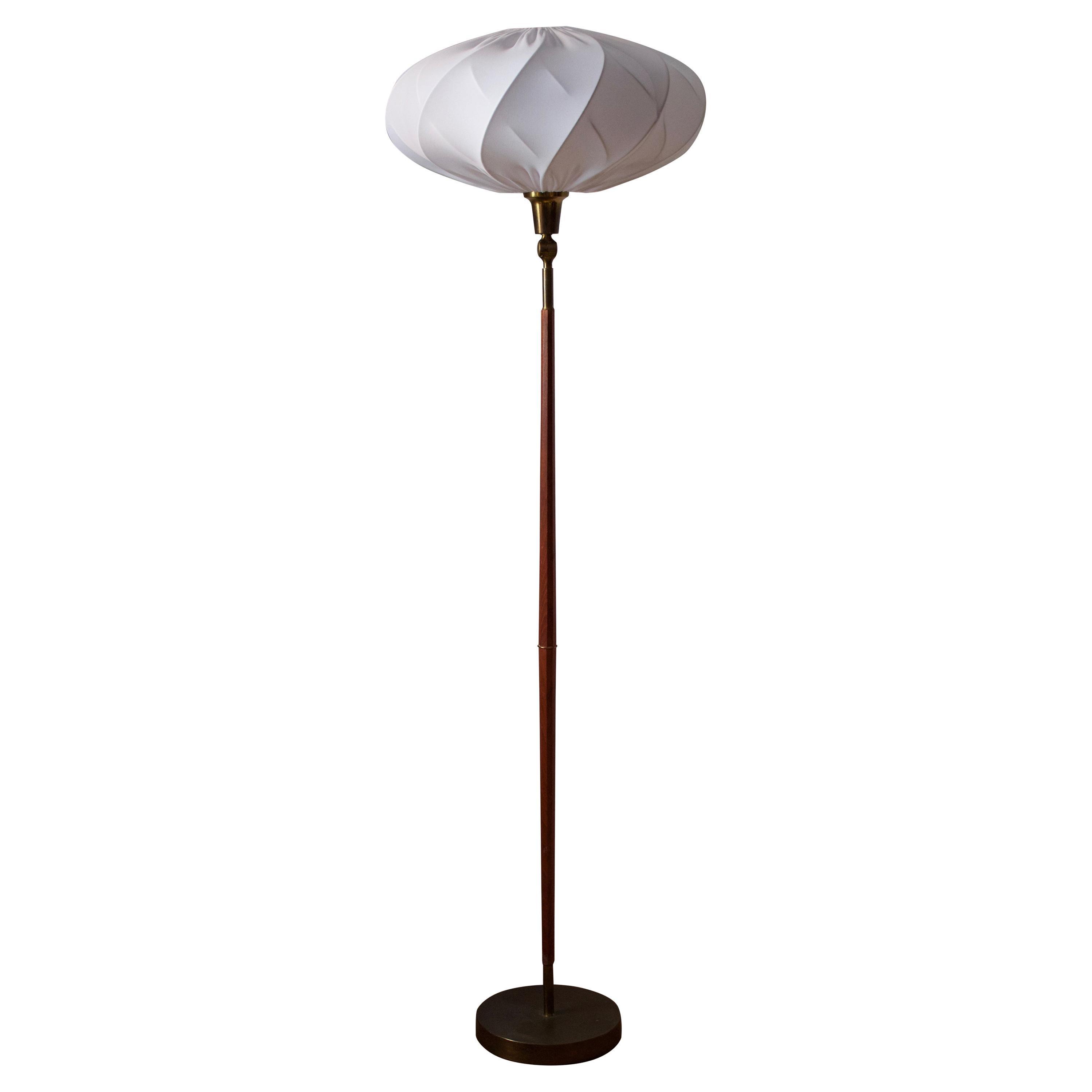 Swedish, Adjustable Floor Lamp, Teak, Brass, Fabric, Sweden, 1950s