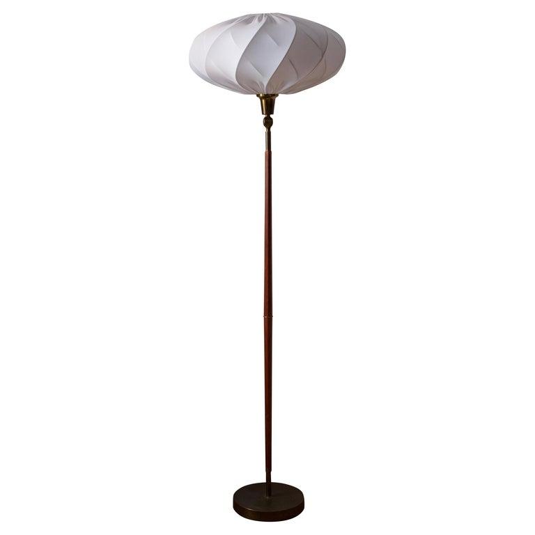 Swedish, Adjustable Floor Lamp, Teak, Brass, Fabric, Sweden, 1950s For Sale